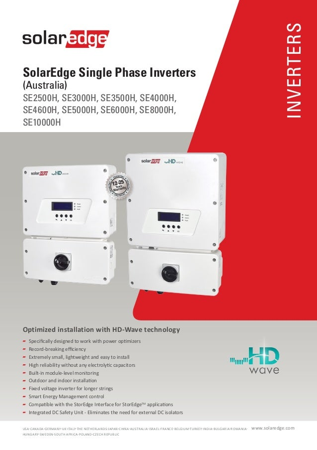 INVERTERS SolarEdge Single Phase Inverters (Australia) SE2500H, SE3000H, SE3500H, SE4000H, SE4600H, SE5000H, SE6000H, SE80...