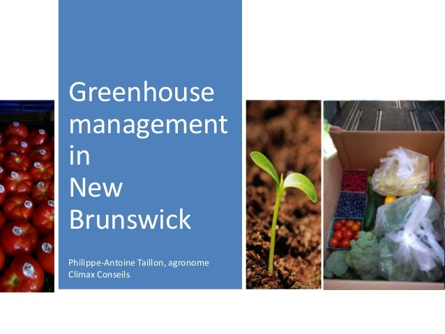 Greenhouse management in New Brunswick Philippe-Antoine Taillon, agronome Climax Conseils