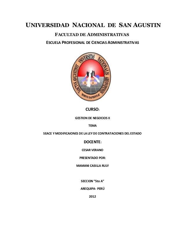 UNIVERSIDAD NACIONAL DE SAN AGUSTIN FACULTAD DE ADMINISTRATIVAS ESCUELA PROFESIONAL DE CIENCIAS ADMINISTRATIVAS CURSO: GES...