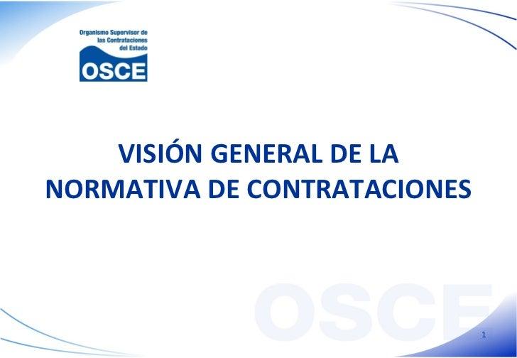 VISIÓN GENERAL DE LA NORMATIVA DE CONTRATACIONES