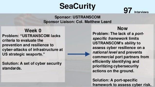 "SeaCurity Week 0 Problem: ""USTRANSCOM lacks criteria to evaluate the prevention and resilience to cyber-attacks of infrast..."