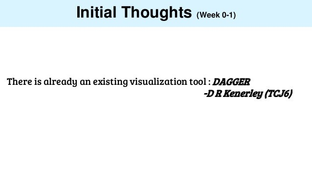 Initial Thoughts (Week 0-1) There is already an existing visualization tool : DAGGER -D R Kenerley (TCJ6)