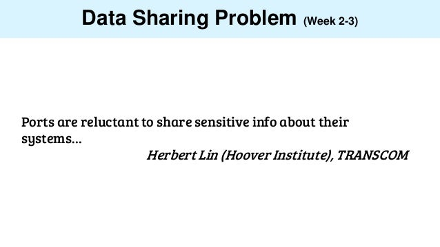 Data Sharing Problem (Week 2-3) Ports are reluctant to share sensitive info about their systems… Herbert Lin (Hoover Insti...