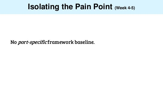 Isolating the Pain Point (Week 4-5) No port-specific framework baseline.