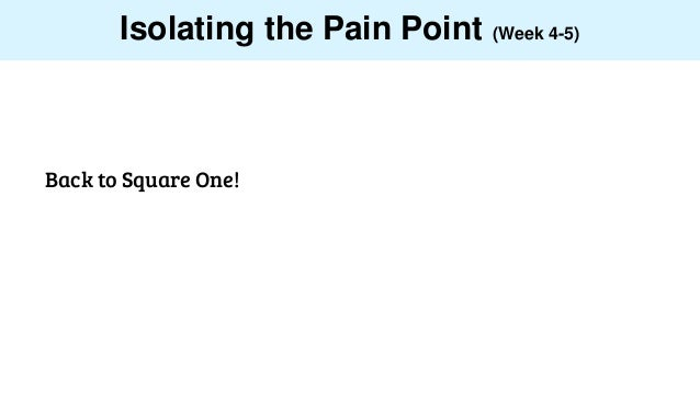 Isolating the Pain Point (Week 4-5) Back to Square One!