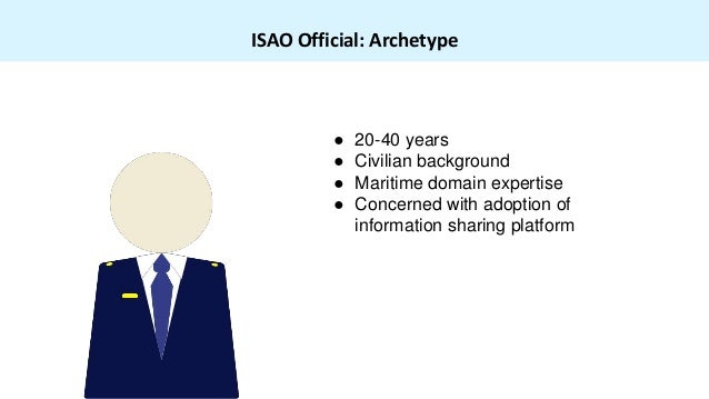 ISAO Official: Archetype ● 20-40 years ● Civilian background ● Maritime domain expertise ● Concerned with adoption of info...