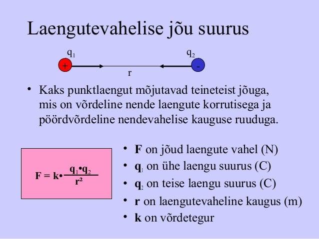 Laengutevahelise jõu suurus • Kaks punktlaengut mõjutavad teineteist jõuga, mis on võrdeline nende laengute korrutisega ja...