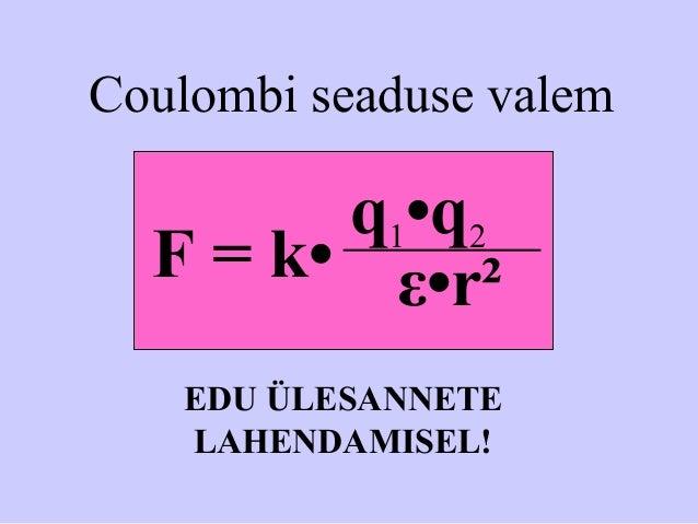 Coulombi seaduse valem q1•q2 ε•r²F = k• EDU ÜLESANNETE LAHENDAMISEL!