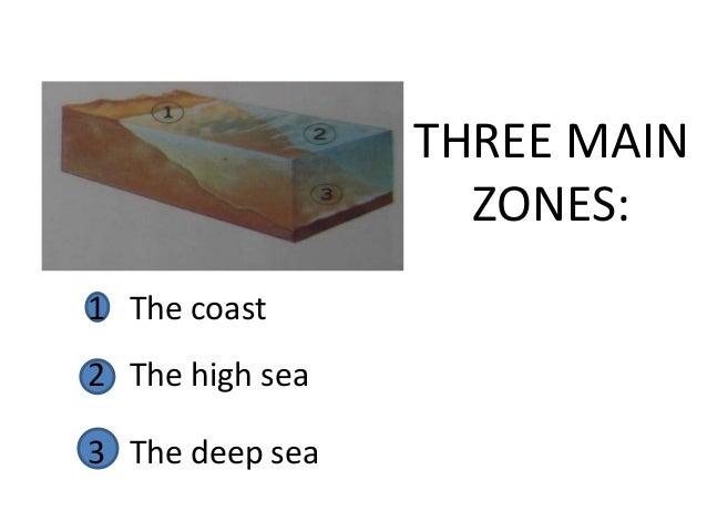 THREE MAIN                   ZONES:1 The coast2 The high sea3 The deep sea