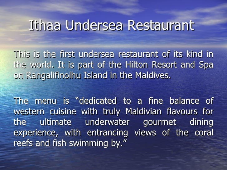 Ithaa undersea restaurant this is for Ithaa prices