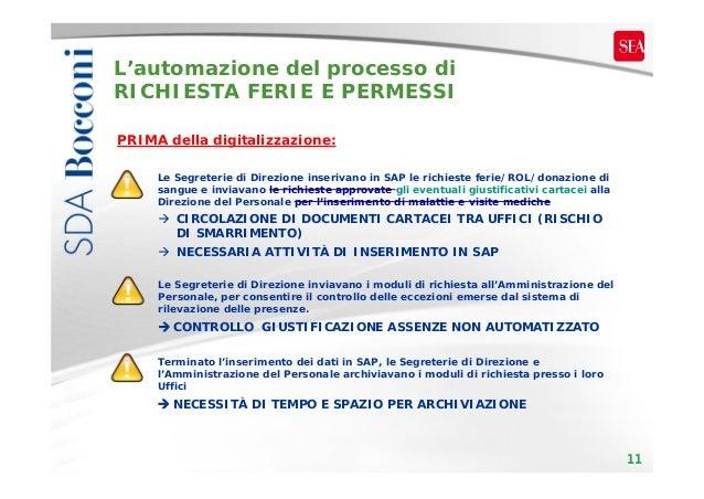 L'automazione del processo di RICHIESTA FERIE E PERMESSI PRIMA della digitalizzazione: Le Segreterie di Direzione inseriva...