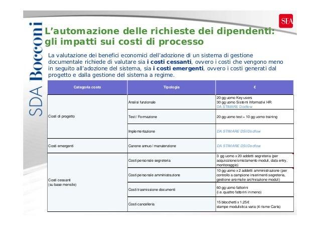 L'automazione delle richieste dei dipendenti: gli impatti sui costi di processo La valutazione dei benefici economici dell...