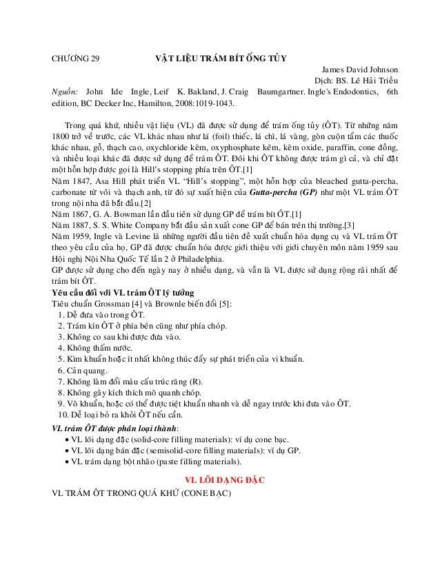 CHÖÔNG 29 VAÄT LIEÄU TRAÙM BÍT OÁNG TUÛY James David Johnson Dòch: BS. Leâ Haûi Trieàu Nguoàn: John Ide Ingle, Leif K. Bak...
