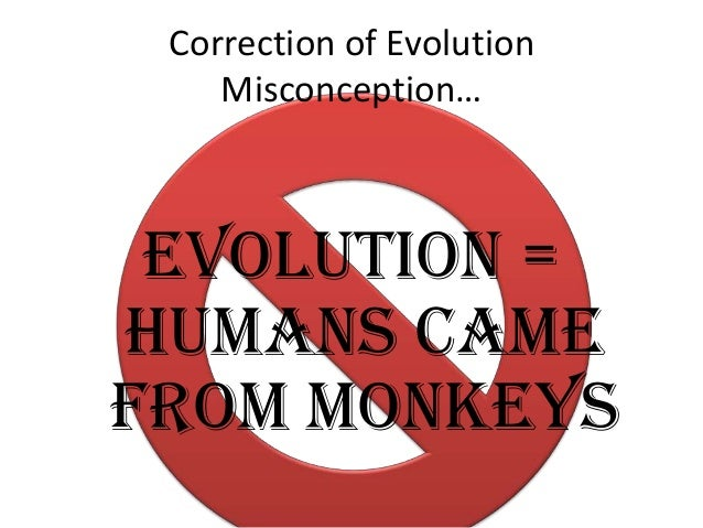 Correction of Evolution Misconception…  Evolution = humans came from monkeys
