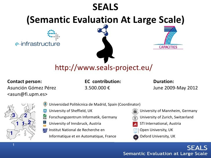 SEALS          (Semantic Evaluation At Large Scale)                        http://www.seals-project.eu/ Contact person:   ...