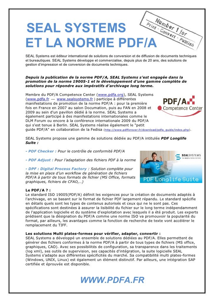 Seal Systems Et La Norme 19005-1 : PDF/A