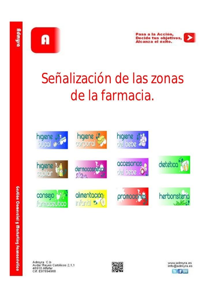 Señalización de las zonas    de la farmacia.