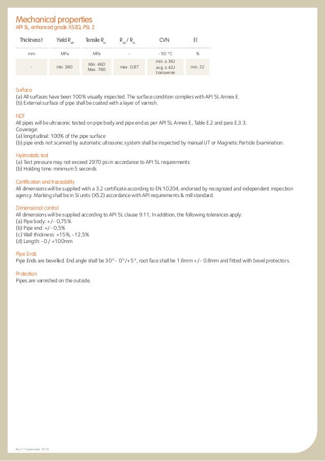 Seamless pipes API 5L grade x52 psl 2