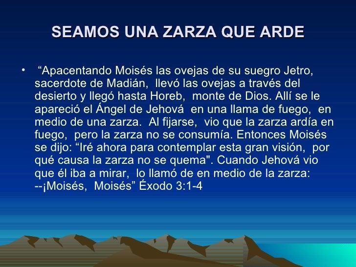 """SEAMOS UNA ZARZA QUE ARDE•    """"Apacentando Moisés las ovejas de su suegro Jetro,    sacerdote de Madián, llevó las ovejas ..."""