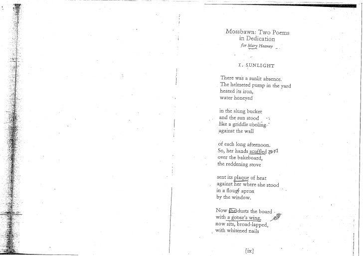 seamus heaney funeral poem