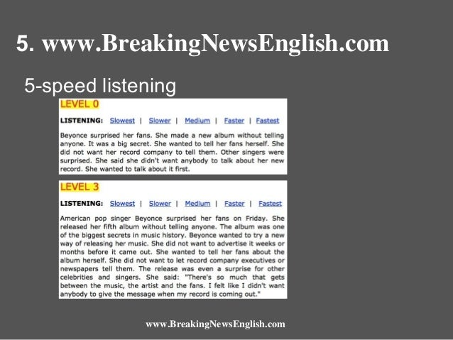 5. www.BreakingNewsEnglish.com 5-speed listening  www.BreakingNewsEnglish.com