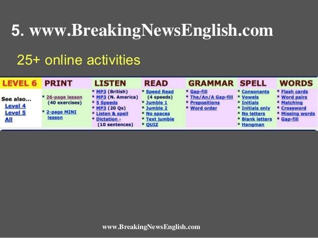 5. www.BreakingNewsEnglish.com 25+ online activities  www.BreakingNewsEnglish.com