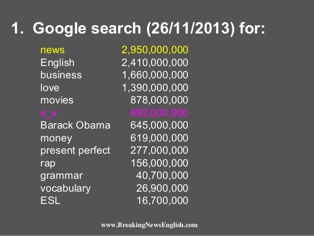 1. Google search (26/11/2013) for: news English business love movies s_x Barack Obama money present perfect rap grammar vo...