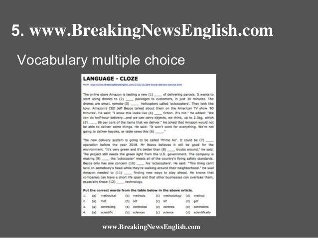 5. www.BreakingNewsEnglish.com Vocabulary multiple choice  www.BreakingNewsEnglish.com