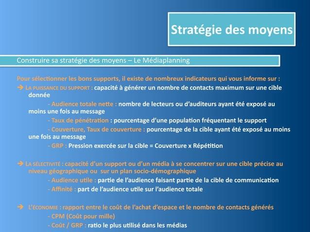 Stratégie des moyensConstruire sa stratégie des moyens – Le MédiaplanningPour sélec,onner les bons...