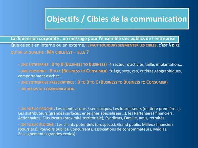 Objec,fs / Cibles de la communica,onLa dimension corporate : un message pour l'ensemble des pu...