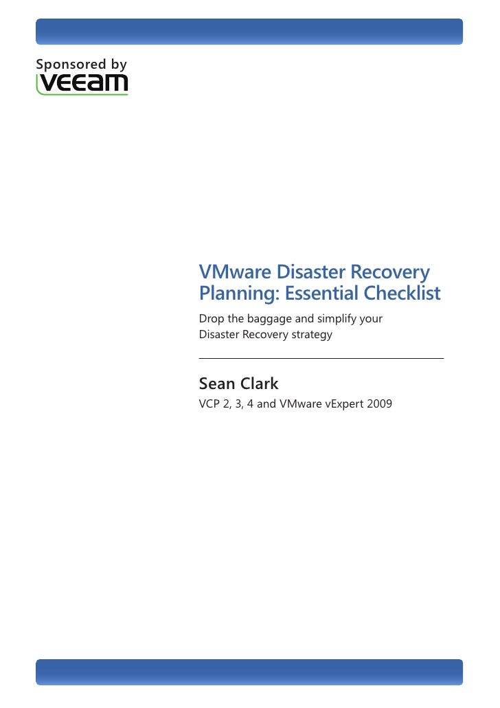 vmware disaster recovery planning essential checklistsponsored by vmware