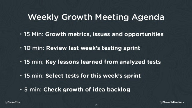 Weekly Growth Meeting Agenda • 15 Min: Growth metrics, issues and opportunities • 10 min: Review last week's testing sprin...