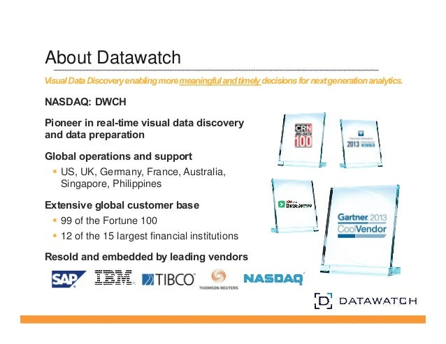 About Datawatch  Visual Data Discovery enabling more meaningful and timely decisions for next generation analytics.  NASDA...