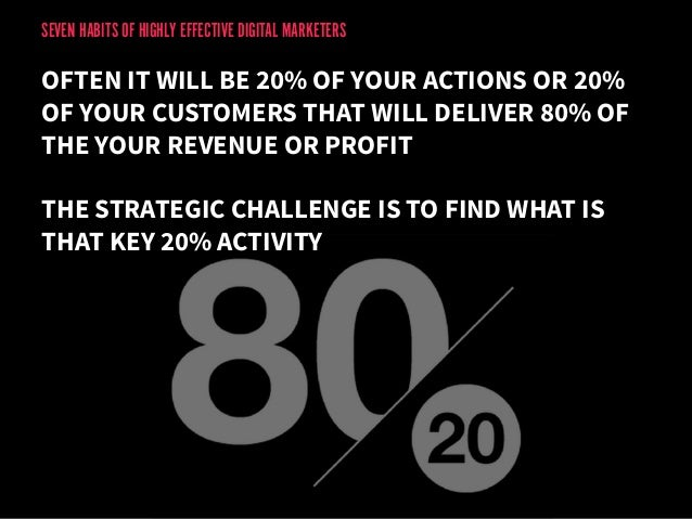 SEVEN HABITS OF HIGHLY EFFECTIVE DIGITAL MARKETERS  OFTEN IT WILL BE 20% OF YOUR ACTIONS OR 20%  OF YOUR CUSTOMERS THAT WI...
