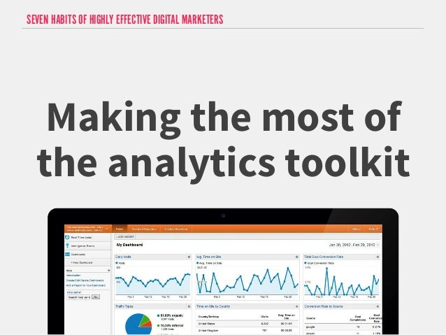 SEVEN HABITS OF HIGHLY EFFECTIVE DIGITAL MARKETERS  Making the most of  the analytics toolkit