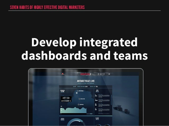 SEVEN HABITS OF HIGHLY EFFECTIVE DIGITAL MARKETERS  Develop integrated  dashboards and teams