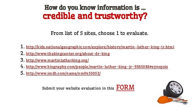 Ask about the Author http://www.whois.net/ ● Is the author's name on the site? ● Is there a contact person or e-mail addre...