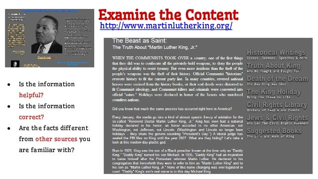 Look at the Links ● Does the site have more resources and links? ● Do the links work? ● Do links and resources show any bi...
