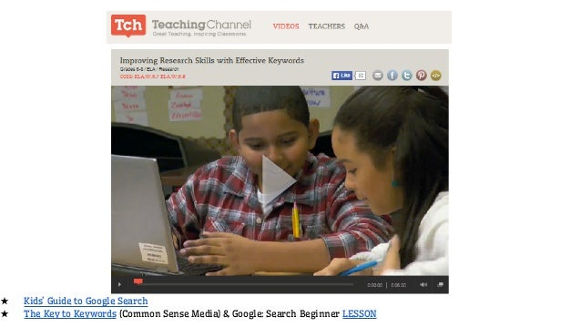 ★ Kids' Guide to Google Search ★ The Key to Keywords (Common Sense Media) & Google: Search Beginner LESSON