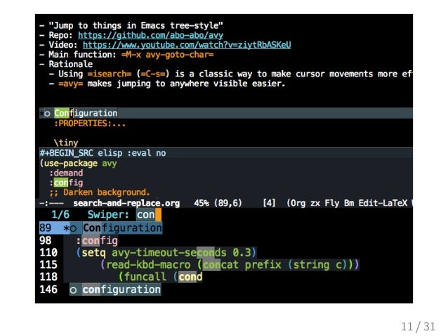 Search and Replacement Techniques in Emacs: avy, swiper