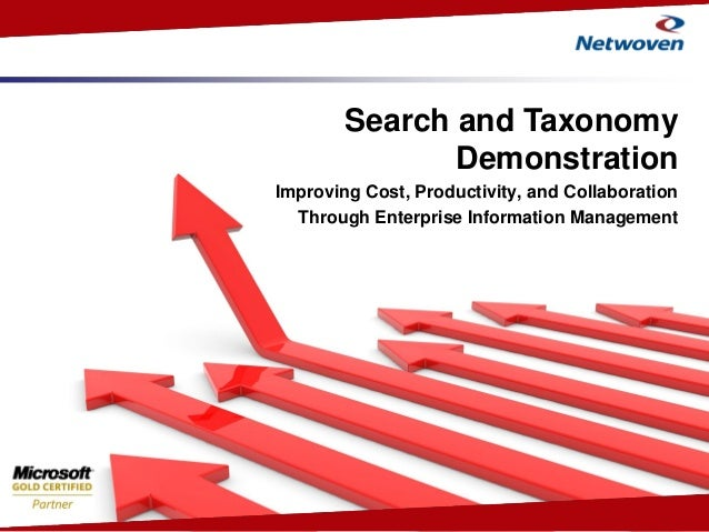 Enabling Intelligent Enterprises Search and Taxonomy Demonstration Improving Cost, Productivity, and Collaboration Through...