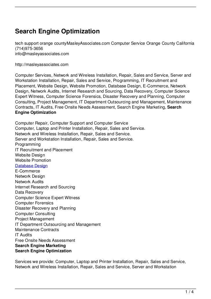 Search Engine Optimizationtech support orange countyMasleyAssociates.com Computer Service Orange County California(714)975...