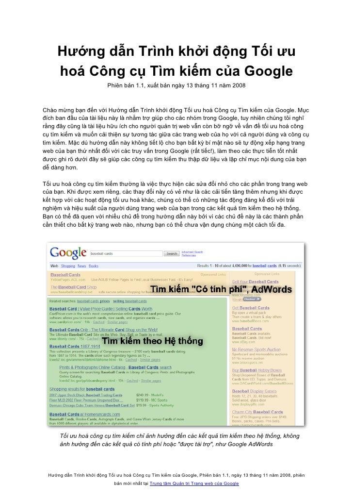 Hướng dẫn Trình khởi động Tối ưu      hoá Công cụ Tìm kiếm của Google                             Phiên bản 1.1, xuất bản ...