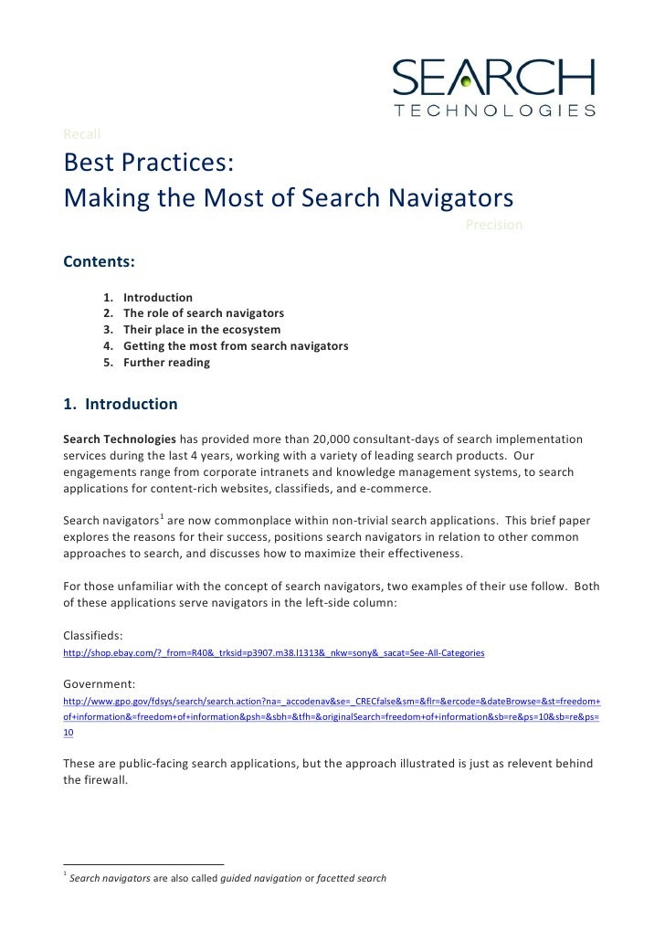 Recall  Best Practices: Making the Most of Search Navigators                                                              ...