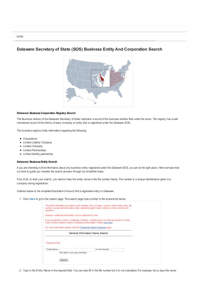 Delaware (DE) Business Eny And Corporation Search