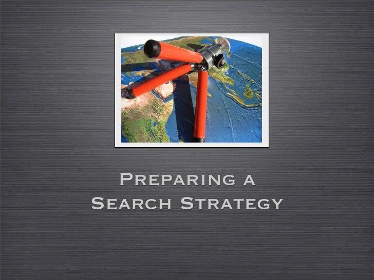 Preparing a Search Strategy