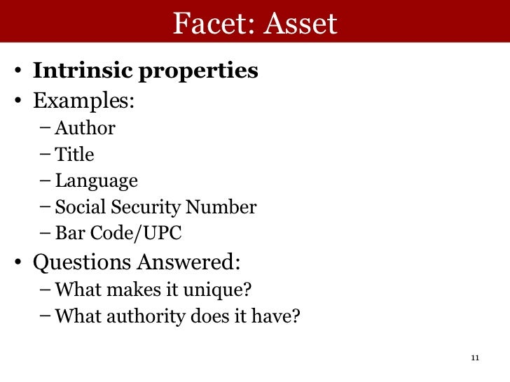 Facet: Asset <ul><li>Intrinsic properties </li></ul><ul><li>Examples: </li></ul><ul><ul><li>Author </li></ul></ul><ul><ul>...