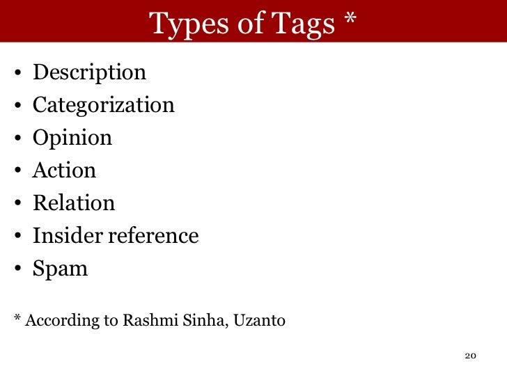 Types of Tags * <ul><li>Description </li></ul><ul><li>Categorization </li></ul><ul><li>Opinion </li></ul><ul><li>Action </...