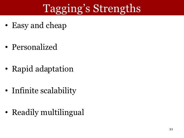 Tagging's Strengths <ul><li>Easy and cheap </li></ul><ul><li>Personalized </li></ul><ul><li>Rapid adaptation </li></ul><ul...