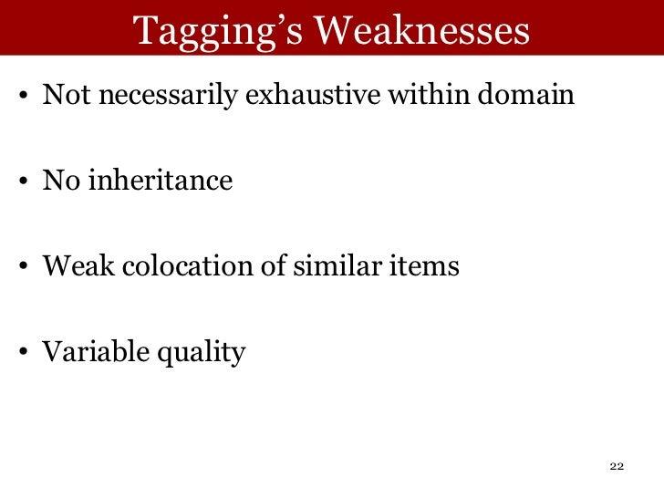 Tagging's Weaknesses <ul><li>Not necessarily exhaustive within domain </li></ul><ul><li>No inheritance </li></ul><ul><li>W...